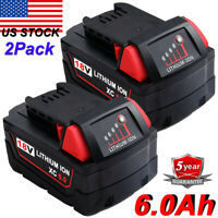 2X For Milwaukee 48-11-1862 M18 XC6.0 LITHIUM HIGH OUTPUT 6.0Ah Battery Pack New