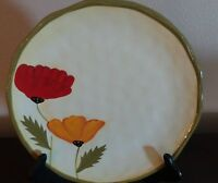 Rare Clay Art Poppies Dinner Plates x1 Dinner plate B Red,,Yellow Poppies