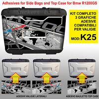 Kit 3 adesivi borse valigie K25 BMW R1200GS bussola + planisfero fino al 2012