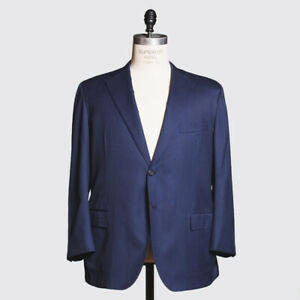 Kiton Napoli Suit 44/46 US Blue Pinstripe 14 Micron Wool Silk with Half Lining