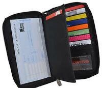 Black Zip Around Genuine Leather Checkbook Credit Card ID Holder Wallet