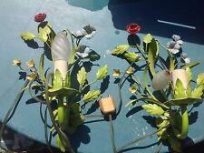 Superbe 2 APPLIQUES  EN FER PEINT AVEC FLEURS CHANDELIER METAL FLOWERS