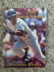 Milwaukee Wisconsin Brewers Baseball Pocket Schedule 1993