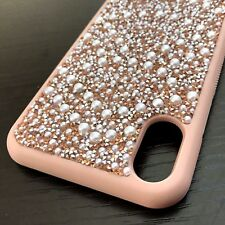 For iPhone X - Hard Premium TPU Rubber Case Cover Rose Gold Diamond Bling Pearls