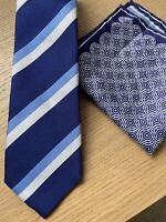 Charles Tyrwhitt Tie And Pocket Square 100% Silk Blue