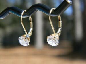 14k Yellow Gold  Round Cubic Zirconia Dangle Earrings