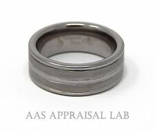 TUNGSTEN SATIN BRUSHED & POLISHED SIZE #8, GROOVED BAND RING, 8.30 MM, [TAR477]