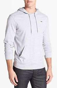 New Lacoste Men's Silver Grey TH1485 Pullover Hoodie Long sleeve Shirt Tee