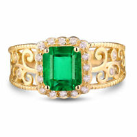 Vintage 3.00ct Green Emerald & Diamond 14k Yellow Gold Over Engagement Ring