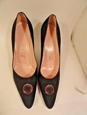 Black Stiletto Heels bySaks 5th Ave Retro Fabric 7.5 AA Dress Fashion Shoes