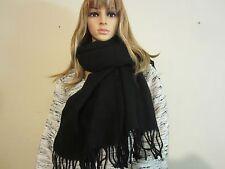 Charter Club Black Acrylic Scarf Women's Winter Wrap with Tassels Italy NWT #586