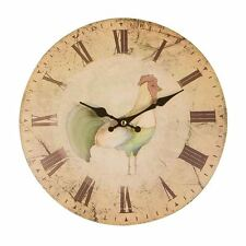 Home To Roost Wall Clock   Charming Design with Rooster Detail   Easy to Read