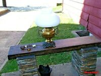 """""""REDUCED"""" Brass Ribbed Milk Glass Conversion Lamp"""