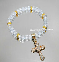 12 BAPTISM BRACELET BAUTIZO RECUERDOS QUINCEANERA Gold CROSS Crystal Party Favor