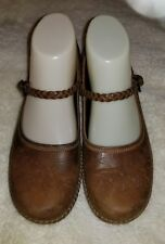 ECCO Brown Leather Braided Strap Mary Janes Womens Shoes Euro Size 37 US 6.5