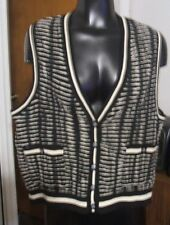 Jamie Sadock Small Vest Sleeveless Black White Button Front Vee Neck SALE $8