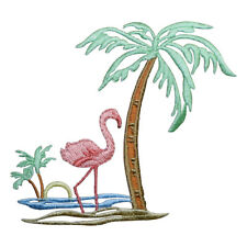 Pink Flamingo and Palm Trees Applique Patch (Iron on)