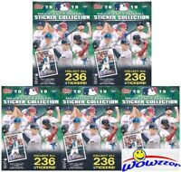 (5) 2019 Topps Baseball Stickers EXCLUSIVE Blaster Box-200 Stickers+5 Poster