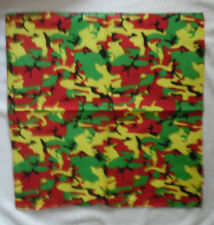 RASTA CAMOUFLAGE BANDANA RED BLACK GOLD GREEN SCARF COTTON HEAD HAIR WRAP