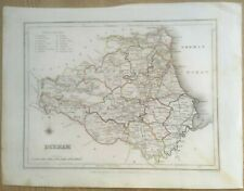 ANTIQUE COUNTY MAP OF DURHAM C1831 SAMUEL LEWIS ENG J&C WALKER/CREIGTON COLOURED