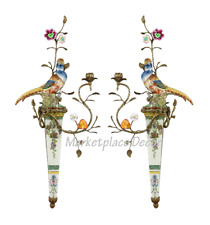 Bronze Ormolu Aviary Wall Sconce Porcelain Bird Candle Holders Parrot ~ Set Of 2