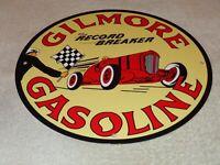 """VINTAGE GILMORE RECORD BREAK GASOLINE CAR +FLAG 11 3/4"""" PORCELAIN METAL OIL SIGN"""