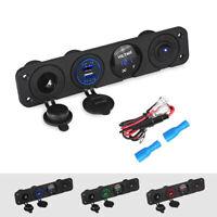 12V Car Boat RV 4 Hole Switch Panel LED Voltmeter Volt Dual USB Charger Socket