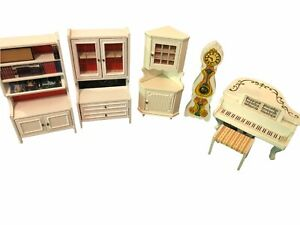 Vintage 70s Lundby Dollhouse Furniture Lot Kitchen Living Room Bed Bath Piano