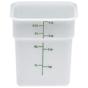 Cambro 4SFSP148 Cambro Square Container 4 Quart Capacity, White