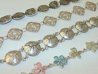 Misc Vintage Sterling Silver Ornate Heavy Artisan Chain Bracelet 925 Jewelry