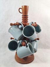 Wooden Coffee Mug Tree w/Dome Base + 8 Corning Light Blue Mugs