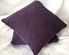 """Waffelpique Kissenbezug 37x37 cm Leinen """"Stonewashed"""", Purple"""