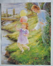 """Catholic Print Picture GUARDIAN ANGEL with GIRL Religious Christian 11x14"""""""