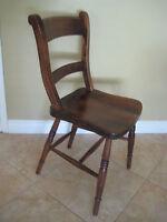 "Vintage Wooden Chair, ""A W 52"", ""3ftr, Sc7shess Ra"", 33"" Tall X 16"" W X 16"" Dia"
