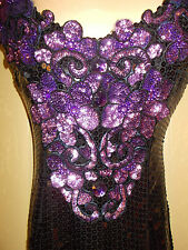 Evening Dress 6 Womens S Alyce Beaded Sequined Purple Ball Gown Dance  4g7