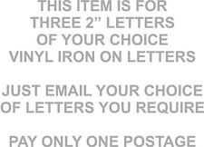 3 for a £1 LETTERs IRON/HEATPRESS ON TRANSFER IN SILVER FOOTBALL SHIRT PRINTING