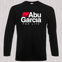 ABU GARCIA For Life Fishing Logo Men's Long Sleeve Black T-Shirt Size S to 3XL