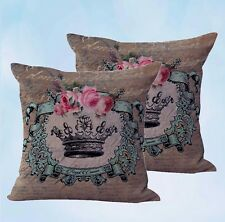 US Seller-set of 2 couch pillows for cheap shabby chic crown rose cushion cover