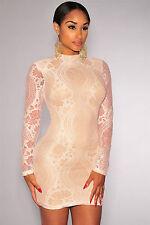 Abito a cono aperto ricamato pizzo nudo trasparente Lace V-neck Mini Club Dress