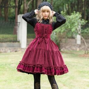 2020 New Mori Girl rabbit Embroidery Vintage Lolita corduroy Dress Small Fresh