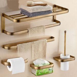 Antique Brass Square Bathroom Accessories Towel Bar Wall Mount Bath Hardware Set