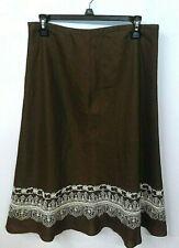Rafaella Pure Linen Skirt Lined w/ Embroidered Border  Sz10 Brown Originally $86