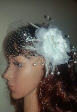 """Ivory birdcage veil 9"""" with pearl flower crystal comb fascinator. Veil detatches"""