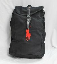 Polo Ralph Lauren Black Canvas Backpack Red Big Pony NWT Rare!