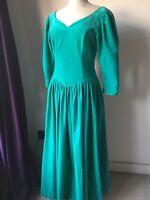 Vintage Laura Ashley Velvet Ballgown Evening Dress Button Back Jade Green 12