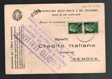 1937 Genova Italy Postcard Bank Cover Local Use Perfin Stamps
