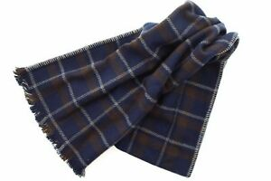 Coach 83145 Men's Wool Cashmere Plaid Blanket Scarf Wrap Charcoal Gray Navy Red