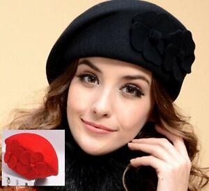 Women 100% Wool Winter Warm Flower French Artist Round Beret hat Cap Beanie