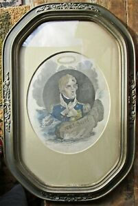 RARE Admiral Nelson Hand Colored Framed Engraving, 1815 Craig, Publ. Kinnersley