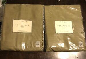 "{2} Pottery Barn Dupioni Silk Curtain Pole Rod Pocket Drapes 50 x 84"" Dark Olive"